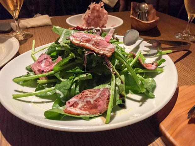 鴨肉とほうれん草のサラダ バルサミコ