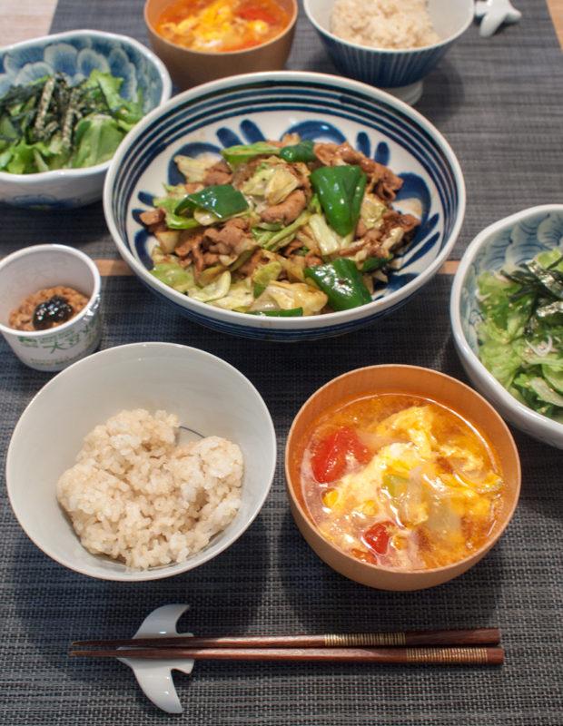 回鍋肉とトマトスープ
