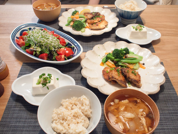 サバの多竜田揚げと副菜