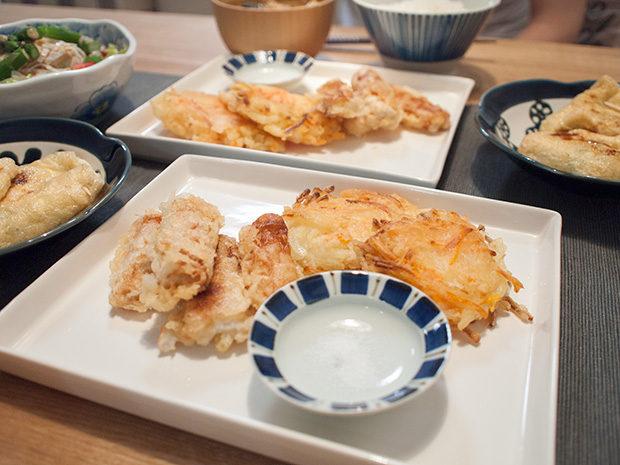 天ぷらの盛り合わせと塩