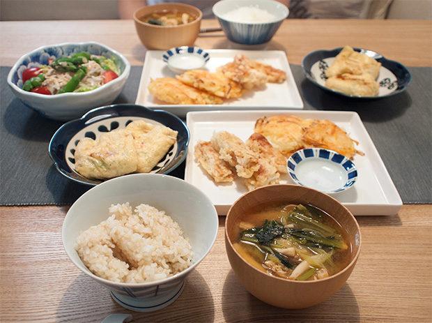 天ぷらメインの食卓