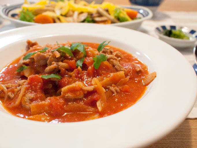 豚肉とごぼうのこっくりトマト煮込み