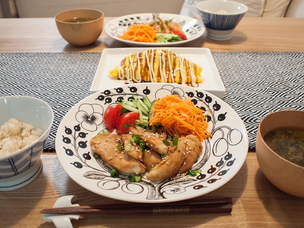 ササミ料理のワンプレート