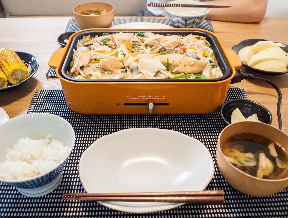 ブルーノで作った鮭のちゃんちゃん焼き
