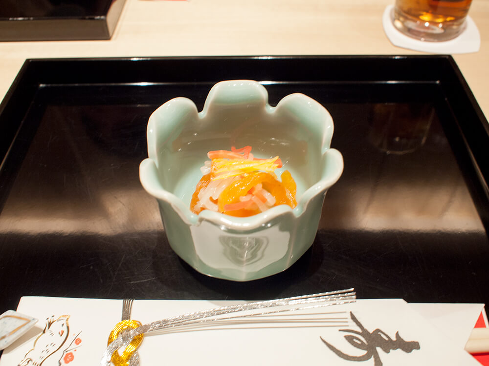 京都つる家でランチ、先付けのなます