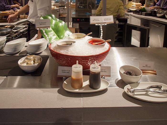 箱根はなをり 朝食ブッフェのパンケーキソース