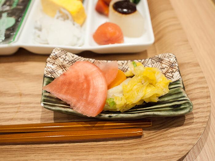 箱根はなをり 朝食ブッフェのお漬物