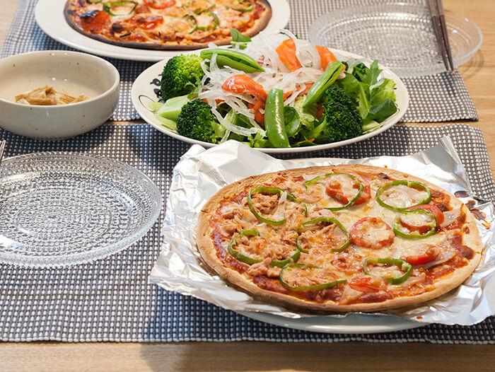ピザで晩ごはん