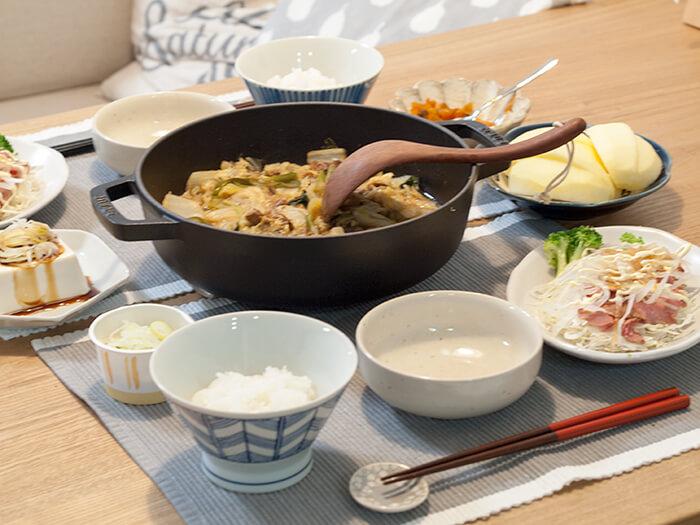 簡単鍋料理がメインの食卓