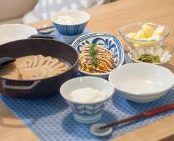 大根鍋ととん平風卵焼きの食卓