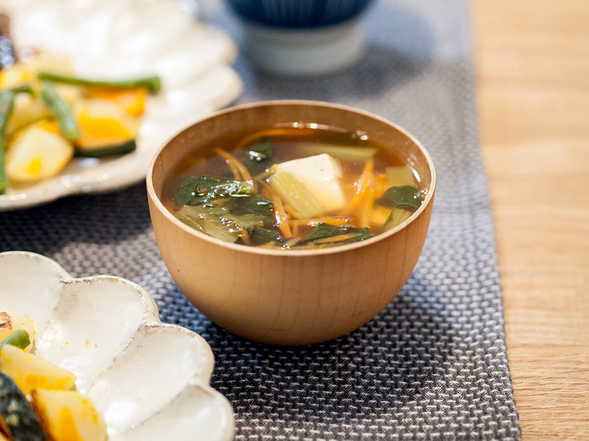 小松菜と人参のけんちん汁風