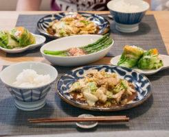 回鍋肉とアスパラとレタス巻きの晩御飯