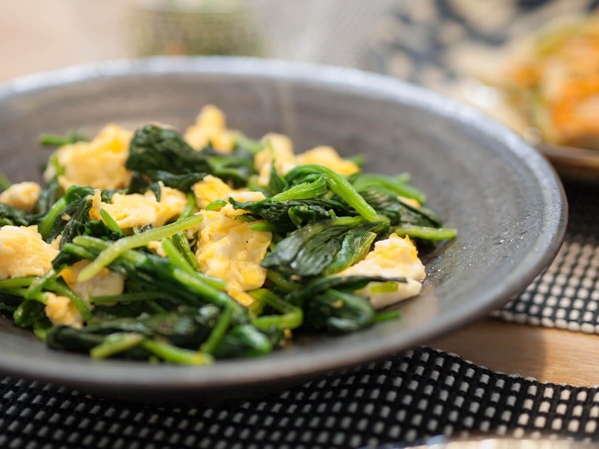 ほうれん草と卵の炒め物