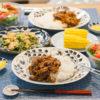 茄子とひき肉のカレー炒めとトウモロコシと豆苗の炒め物で晩ごはん