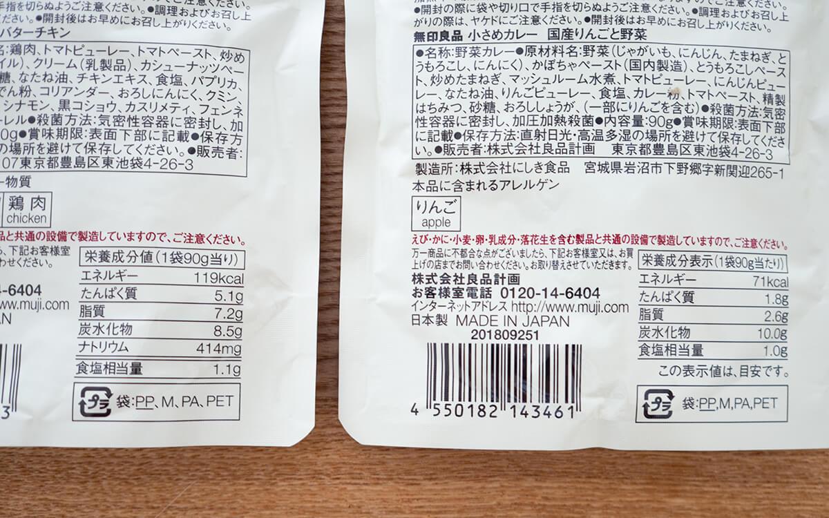 無印良品 小さめカレー 国産りんごと野菜の栄養成分表示