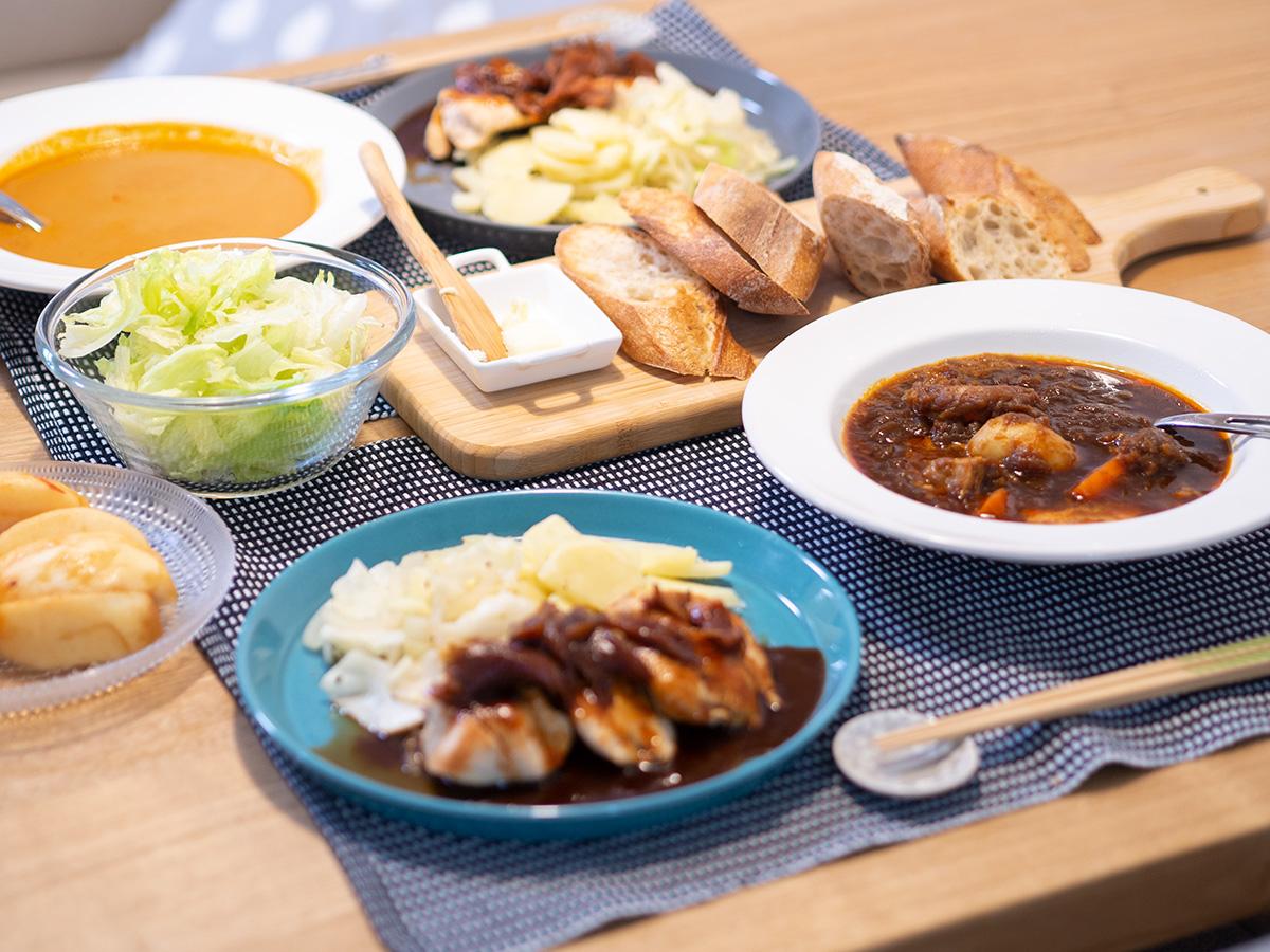 スープストックのスープと鶏胸肉のソテーとバケットで晩ごはん