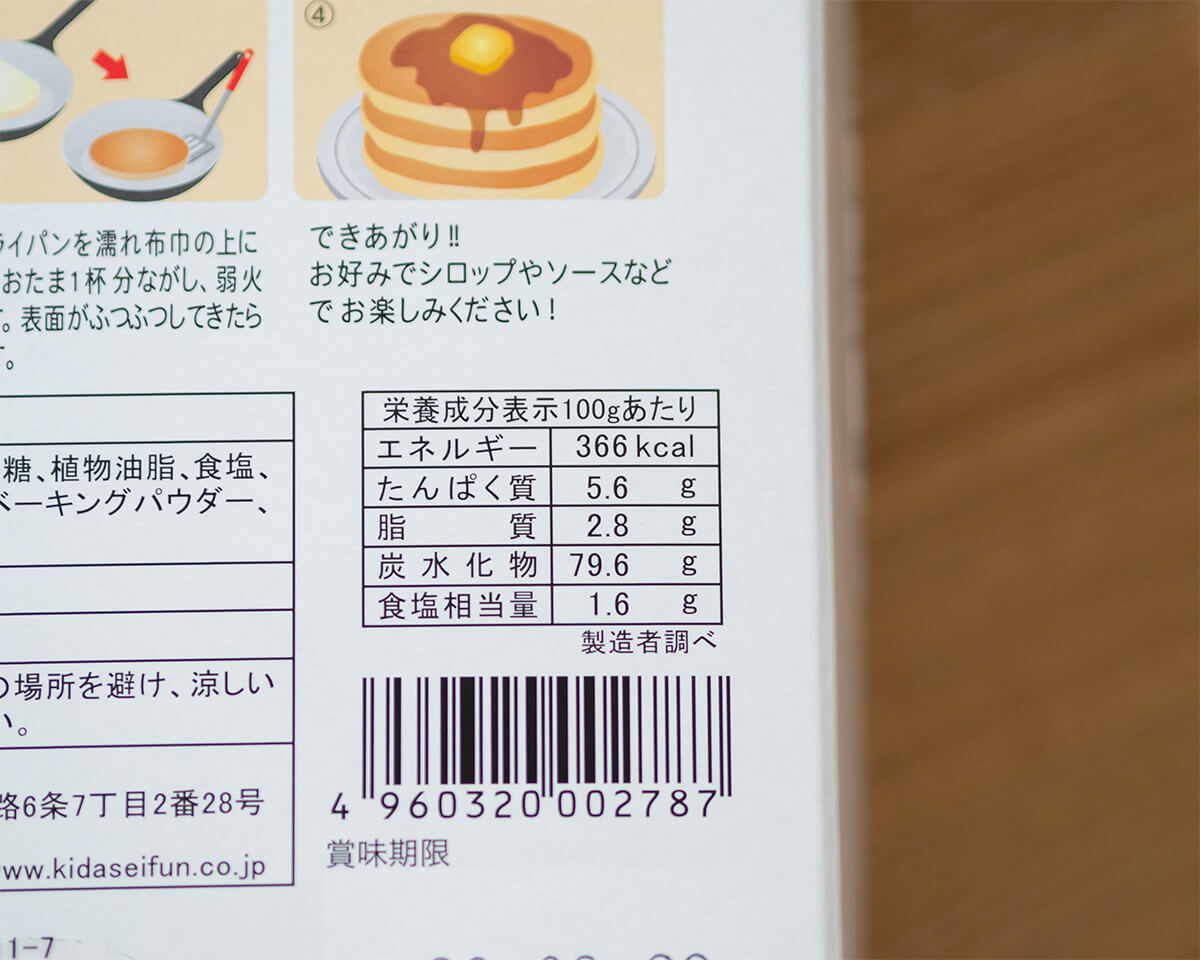 紀伊国屋のパンケーキミックス栄養成分表示