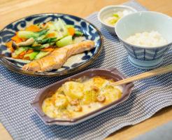 ポテトグラタンと鮭の塩焼き