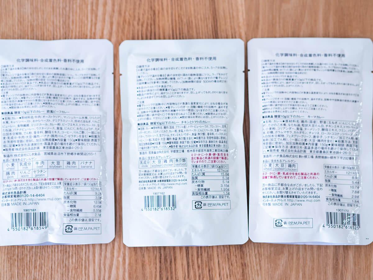 無印良品の糖質10g以下のカレーシリーズの栄養成分表示