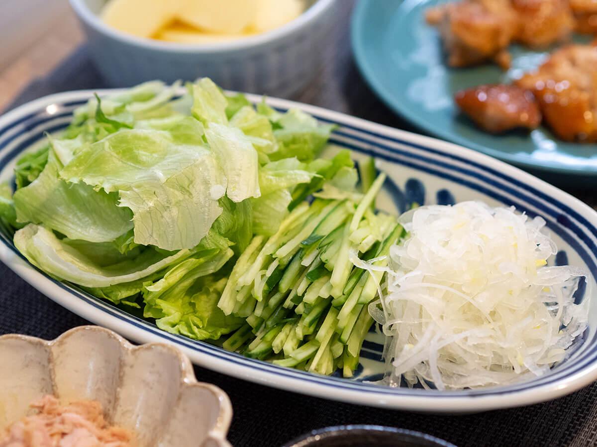 クレープに巻く野菜たち