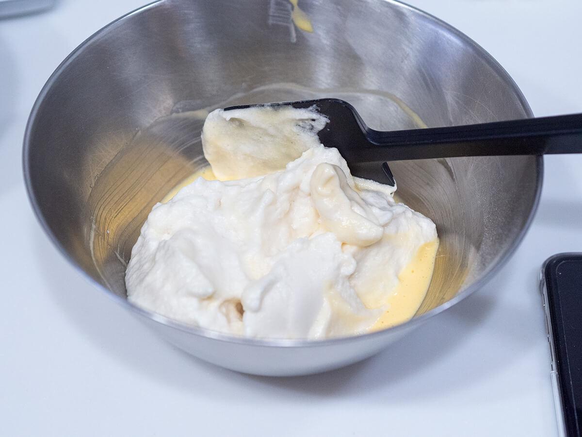 スフレパンケーキのタネ作り