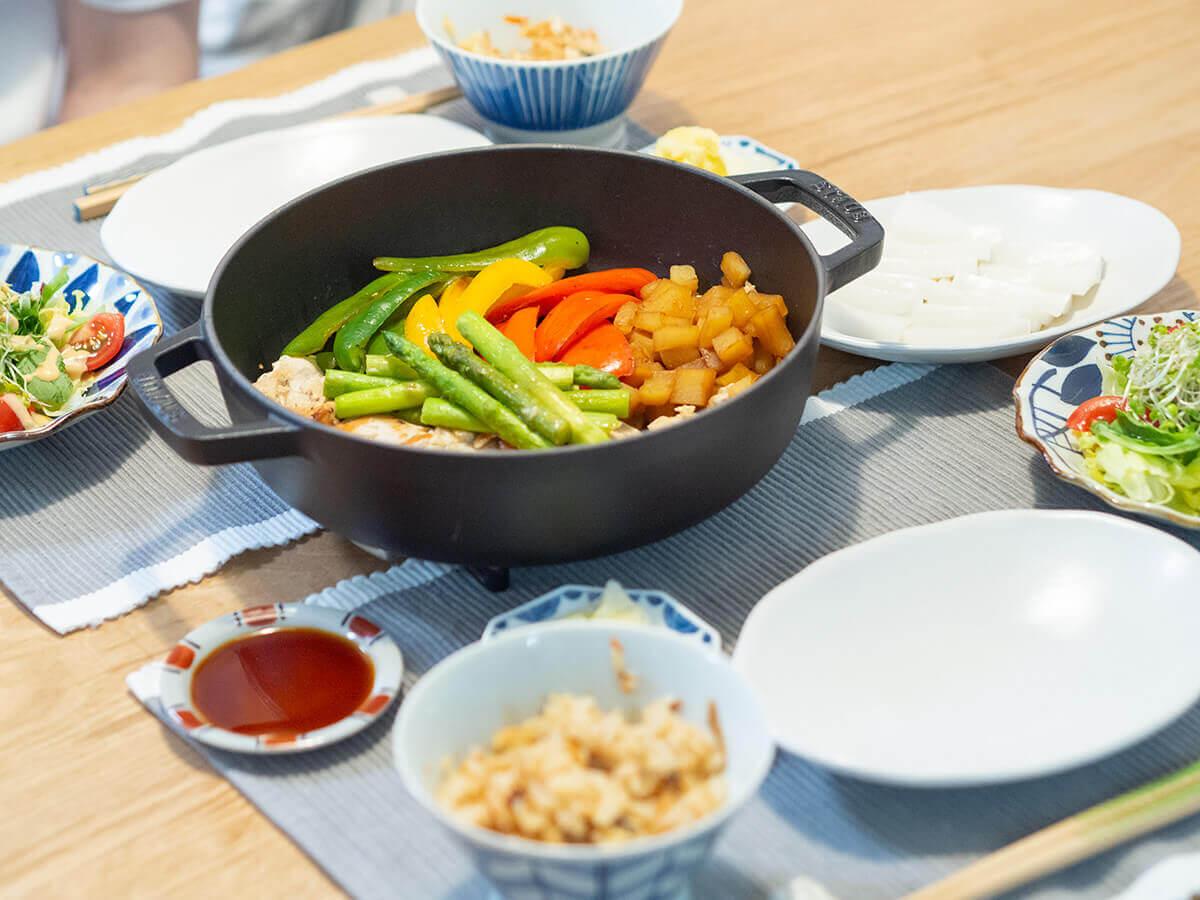 ストウブ鍋でチキンと野菜のソテー