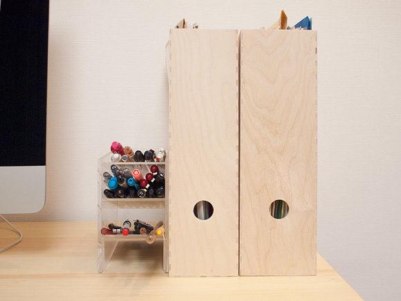 IKEAの木製ファイルボックス