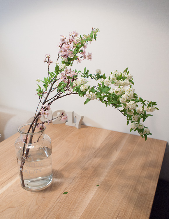 啓翁桜と小手毬のアレンジ