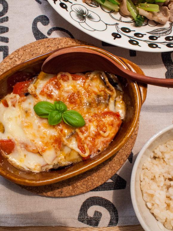 トマト茄子チーズ焼き バジル
