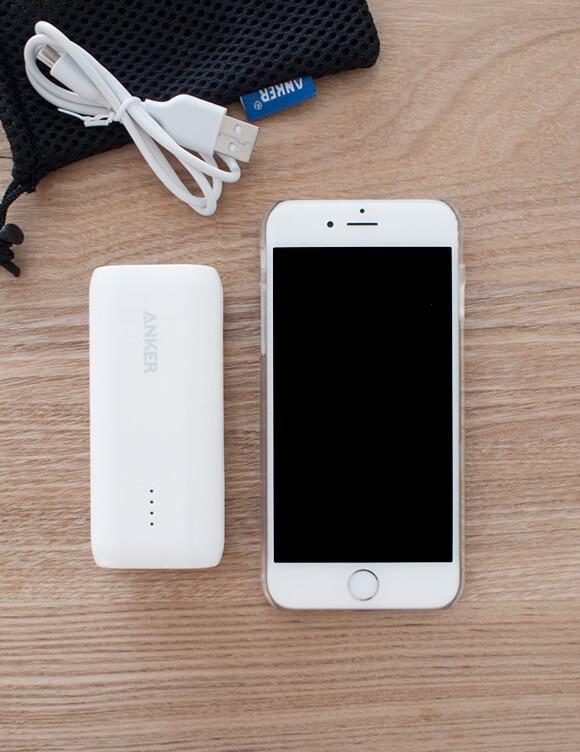 モバイルバッテリーとスマホ