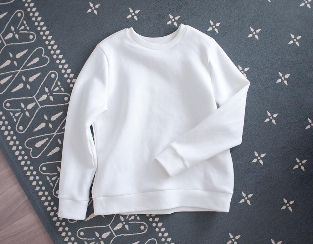 無印の綿混二重編み長袖プルオーバー