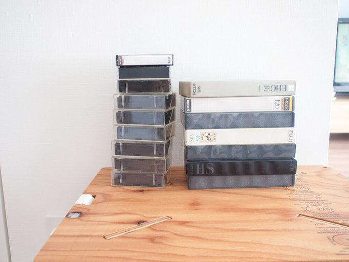 自分で撮影したビデオのテープ