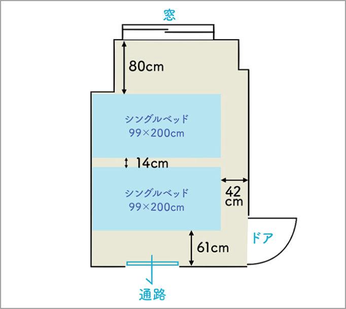 6畳の寝室にシングルベッドを2台置いたレイアウト図