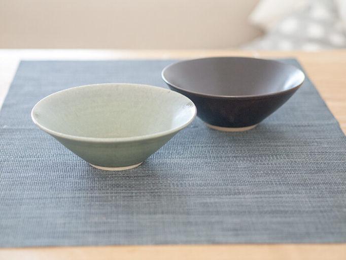 ネギシ製陶の6寸鉢 ブラウンとブルー