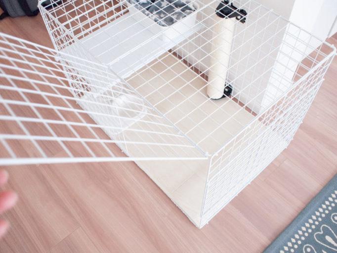 手作り猫ケージの扉部分のアップ
