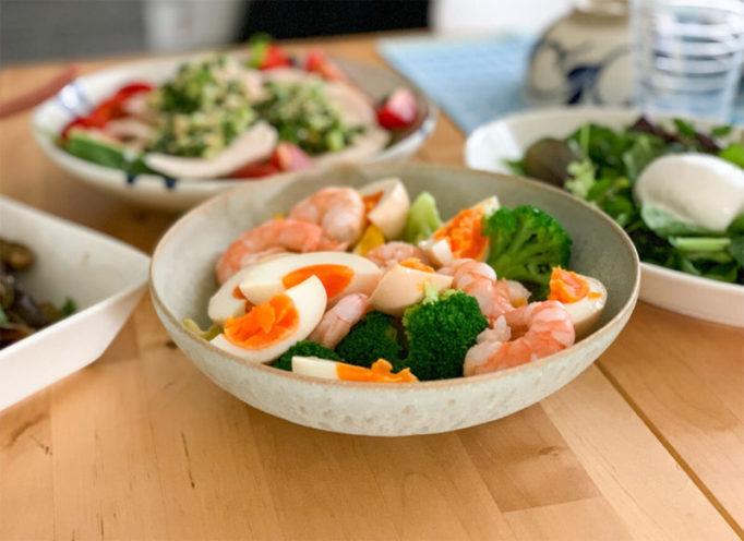 ブロッコリーとエビと卵のサラダ