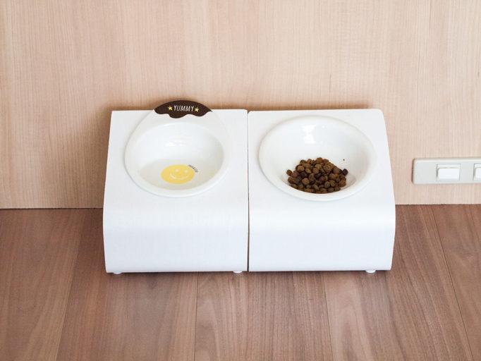 猫の食器台に2種類のお皿を入れたところ
