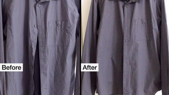 NI-FS770衣類スチーマーのビフォーアフター